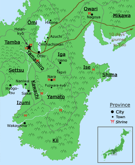 map of the Kansai region during the Sengoku Jidai